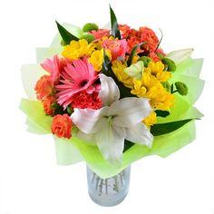 Свежие Цветы, Красивые Цветы, Коралловые Розы, Желтые Маргаритки, Белые Лилии, Цветочные Композиции