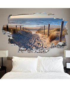 Sticker mural So cool Vinyl Wall Stickers, Wall Decals, Sticker Mural, Beach Wall Murals, Floor Murals, Headboards For Beds, 3d Wallpaper, Beach Themes, Wall Design