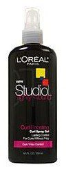 Loreal Paris Studio Tightly Wound Curl Spray Gel, Curl Boosting 8.5 fl oz by L'Oreal Paris. $16.50. 8.5 fl oz. Lasting Control for Curls Without Frizz. Curl/Frizz Control. Compose yourself and keep your curls under control with Studio Tightly Wound Curl Spray  Gel. Tightly Wound combines a holding technology and moisturizing humectant to boost the shape of your your curls while adding long-lasting shine. What's more - Tightly Wound also helpsto keep frizz under control onn...