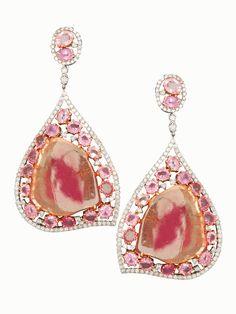 Tourmaline Sapphire and Diamond Earrings  l  London Jewelers