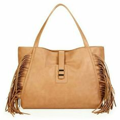 "Hugo fringe bag in light brown, taupe. This tote features magnetic snap clouser inside, decorative, non functional pull through clouser, fringe detailing, and two inside pockets.   Details: L 16"", H 12"", D 3-1/2"", faux leather. The color is something in between in pictures 2 and 3, light brown, not yellowish like in the picture from online.  Please use only ✔OFFER  button for all price negotiations. I'll do a price drop⤵ for you for discounted shipping, if we agree about the price. JF Bags…"