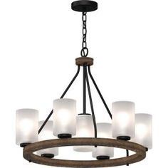 Volume Lighting Emery Walnut and Black Indoor Hanging Chandelier with Frosted Glass Cylinder Shades - The Home Depot Round Chandelier, Hanging Chandelier, Bronze Chandelier, Rustic Chandelier, Chandelier Lighting, Dining Pendant, Dining Room Light Fixtures, Living Room Flooring, Classic Elegance