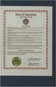 Pima County, AZ - Board of Supervisors' proclamation recognizing Diaper Need Awareness Week (Sep. 26 - Oct. 2, 2016) #diaperneed diaperneed.org