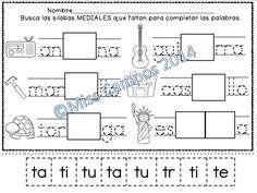silabas mediales con ta te ti to tu fichas para T, Spanish Kindergarten, Common Core Phonemic Awareness Standards