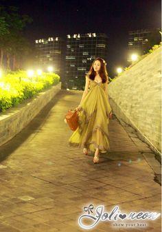 【Joli-neon】飄逸吊帶雪紡荷葉邊連衣長裙(芥綠色) - Yahoo!奇摩購物中心