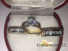 14K Solid Yellow Gold Over His & Hers Diamond Trio Ring Sets Engagement Wedding #giftjewelry22