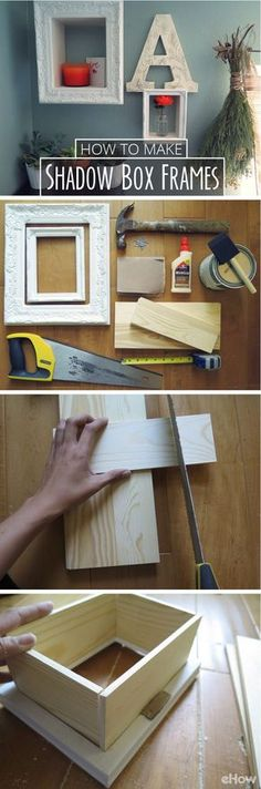 Shadow boxes are a quick and easy way to add storage and decorative features to your walls. Great substitutes for small shelves, you can add a frame to the shadowboxes that make it look like a true piece of art! DIY instructions here: http://www.ehow.com/how_4910331_make-shadow-box-frames.html?utm_source=pinterest.com&utm_medium=referral&utm_content=inline&utm_campaign=fanpage