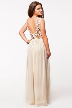 Backless Hollow Apricot Maxi Dress