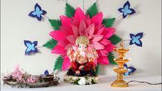 गणपती डेकोरेशन २०१९ - Eco-friendly Ganpati decoration ideas for home Eco Friendly Ganpati Decoration, Ganpati Decoration Theme, Ganapati Decoration, Diwali Decorations, Paper Decorations, Paper Garlands, Paper Flowers Craft, Paper Crafts, Janmashtami Decoration