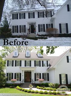House Exterior Before And After Porch Addition Curb Appeal For 2019 Exterior Colonial, Colonial Front Door, Colonial House Exteriors, Exterior Design, Colonial House Remodel, Traditional Exterior, House With Porch, House Front, Balcony House