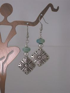 Silver and Blue Green Beaded Earrings.