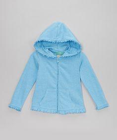Loving this Blue Ruffle Zip-Up Hoodie - Infant, Toddler & Girls on #zulily! #zulilyfinds
