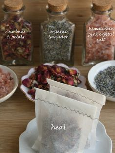 Set of 2 - HEAL: tub tea bath soaks - large tea bags filled with rosebuds, organic lavender, lavender essential oil, and himalayan pink salt by cordeliabee, $6.00