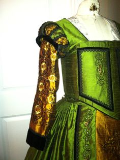 Elizabethan Costume - Queen Elizabeth-I reproduction embroidery - exclusively available through Designs From Time. #Elizabethan #Renaissance