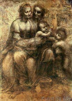 Leonardo da Vinci - The Virgin and Child with SS. Anne and John the Baptist, c.1499