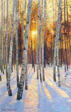 "Love this painting and Dverin's work! Oh to be able to paint like this.... a blessing in deed. ""Sunset in a Birch Grove"" by Anatoly Dverin (Russian-born) ->가지만 앙상히 남은 나무에 소복히 쌓인 눈과 해가 지는 풍경이 조화롭습니다."