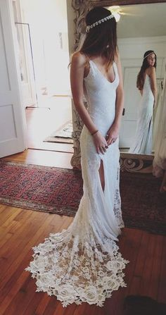 Wedding Dress,Sexy V-neck Wedding Dresses,Spaghetti Straps Beach Wedding Dress,Split Wedding Gown,Lace Bridal Dress,Lace Prom Dress,Side Slit Prom Dresses,Formal Dress