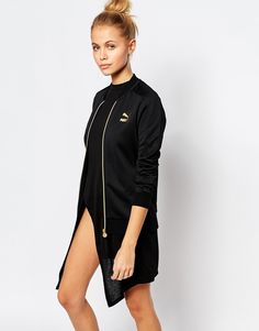 Puma+Gold+Collection+Zip+Front+Bomber+Jacket+With+Small+Metallic+Logo