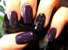 Filthy Gorgeous Pulp with Black Holographic glitter accent nail