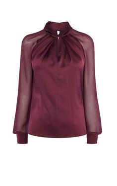 Buy Karen Millen Knot-Neck Top, Dark Red from our Women's Shirts & Tops range at John Lewis & Partners. Karen Millen, Red Blouses, Blouses For Women, Blouse Styles, Blouse Designs, Dandy Look, Sheer Shirt, Sheer Blouse, Purple Blouse