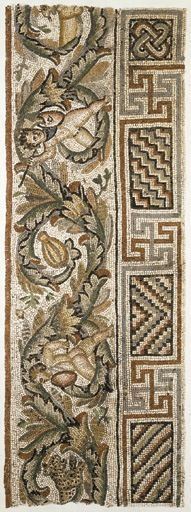 A ROMAN MARBLE MOSAIC PANEL circa 3rd-4th century a.d. From the border of a large floor, with a thick scrolling acanthus framing armed erotes battling wild animals, to the left a nude eros with a shield and a spear facing a leaping leopard, to the right another eros with a shield, a spear in his raised right hand, chasing a fleeing lioness, elaborate geometric panels below