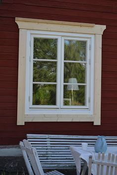 Östragården: Window lining …. Outdoor Window Awnings, Ski Lodge Decor, Craftsman Door, Custom Wood Doors, Barn Siding, House Front Design, Red Cottage, Exterior Trim, Cabins And Cottages