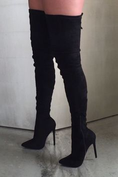 SEXY STRETCH FAUX SUEDE THIGH HIGH BOOT FEATURES A POINTED TOE, STILETTO HEEL…