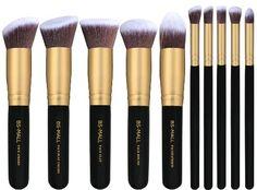 BS-MALL(TM) Makeup Brush Set Premium Synthetic Kabuki Cosmetics Foundation Blending Blush Eyeliner Face Powder Brush Makeup Brush Kit (10pcs, Golden Black)