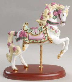 Lenox China Carousel Animals - Porcelain Horse on Wooden Base
