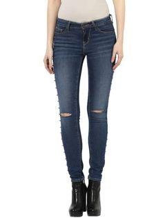 Spike Stud Denim Ankle Length Skinny Fit Jeans Studded Denim, Skinny Fit Jeans, Ankle Length, Fitness, Pants, Fashion, Gymnastics, Moda, Trousers