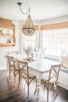 Spring home tour 2017 simple rustic spring home tour with farmhouse t Dining Nook, Dining Room Lighting, Dining Room Design, Dining Room With Bench, Kitchen Banquette, Dining Table, Kitchen Tables, Kitchen Design, Dining Room Inspiration