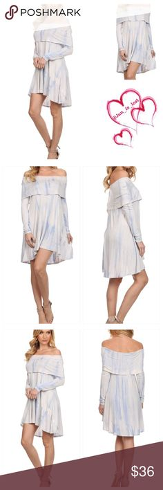 Off The Shoulder Tie Dye Dress Tiered, off the shoulder, tie dye dress with long sleeves and a hi-lo hem.  - Color is blue - Fit is Small (2-4) Medium (6-8) Large (10-12) in women's size. Content: 95% RAYON 5% SPANDEX Any questions please ask.  🚫No trades🚫 Happy Poshing💕💕💕 Dresses