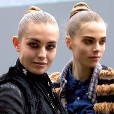Models outside the Louis Vuitton show