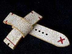 24mm solid leather cracked white watch by VladislavKostetskyi