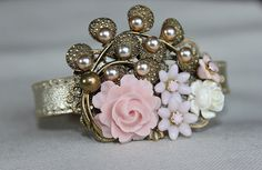 Brides Dream - vintage collage leather cuff bracelet, bridal, wedding, for her, upcycled vintage, $62.00