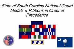 State of South Carolina National Guard Medals & Ribbons in Order of Precedence Order Of Precedence, Medal Ribbon, National Guard, South Carolina, Ribbons, Periodic Table, American, Bias Tape, Periodic Table Chart