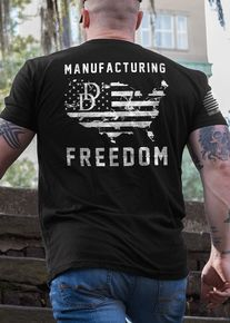 """SHOUT OUT to Daniel Defense, our PARTNER company and neighbors up the road from Savannah located in Black Creek, Georgia! This design REPRESENTS what being a PROUD AMERICAN is all about: Freedom, Firearms, Entrepreneurial Spirit and Drive and Patriotism! Daniel Defense has YOUR firearms, accessories and gear and Nine Line Apparel has YOUR Daniel Defense themed designs: warrior """"Spartan"""", """"Old Glory"""" and NOW this Limited Time Design: """"Manufacturing Freedom""""!"""