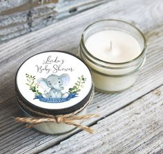 Baby Shower Candle Favors, Baby Shower Labels, Personalized Baby Shower Favors, Shower Centerpieces, Personalized Wedding, Baby Shower Azul, Baby Boy Shower, Baby Elefant, Chalkboard Baby