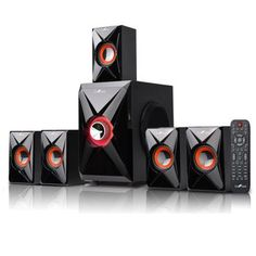 beFree Sound 5.1 Channel Surround Sound Bluetooth Speaker System- Orange