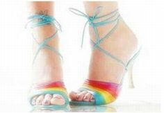 If I had these shoes, I might a little more willing to dress like Rainbow Brite for Halloween. Pumps Heels, High Heels, Flats, Heeled Boots, Shoe Boots, Ballet Shoes, Dance Shoes, Rainbow Shoes, Rainbow Brite