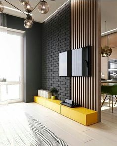 TV panel full of style! I love yellow in the environments and you? For interiors DD ⠀ ⠀ ⠀ ⠀ ⠀ ⠀ ⠀ ⠀ ⠀ ⠀ ⠀ ⠀ ⠀ Check also TV panel full of style! I love yellow in the environments and you? For interiors DD ⠀ ⠀ ⠀ ⠀ ⠀ ⠀ ⠀ ⠀ ⠀ ⠀ ⠀ ⠀ ⠀ Check also Luxury Kitchen Design, Home Design, Decor Interior Design, Design Ideas, Interior Modern, Kitchen Interior, Living Room Tv Unit Designs, Tv Panel, Tv Wall Decor