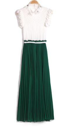 Vestido gasa plisado con cinta-Blanco&Esmeralda