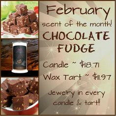 Chocolate Fudge tarts and candles are on sale for 25% off til end of February!  Which jewelry will you choose? Necklace,  earrings, or a ring of your choice of size? Follow my link to order your today! www.jewelryincandles.com/store/ashmarie87