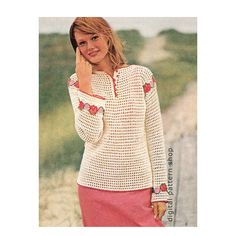 Womens Crochet Top Pattern Vintage Flower by DigitalPatternShop