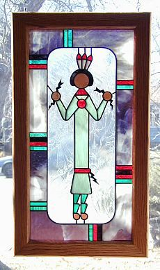 """This Native American stained glass artwork, titled """"Sand Painting"""""""