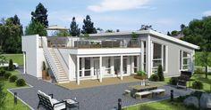 Bilderesultat for flatt tak takterrasse Flat Roof, My Glass, Scandinavian Home, Home Fashion, Sweet Home, House Ideas, Villa, Floor Plans, Flooring