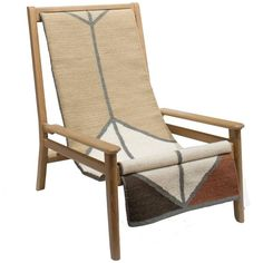 Sling Chair, Special Edition Lounge Chair in Cerused White Oak, Wool Sling