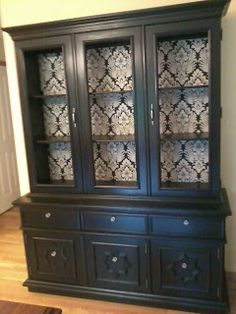 Black China Hutch With Fabric Lined Interior   I Would Like To Re Purpose  Our China Cabinet And Paint It A Distressed Back With A Damask Interior And  ...