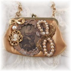 Can use something else in place of Tin Type. Vintage Jewelry Crafts, Old Jewelry, Jewelry Art, Beaded Jewelry, Jewelry Design, Antique Jewelry, Embellished Purses, Found Object Jewelry, Purses And Bags