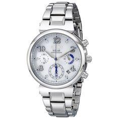Seiko SSC863 Women's Core Solar Chronograph White Dial Stainless Steel Bracelet Watch